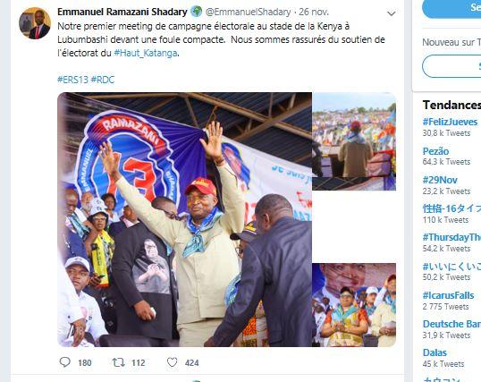 Capture d'écran du compte Twitter de Ramazani Shadary